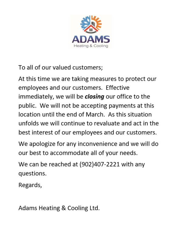 Letter regarding COVID-19 from Adams Heating & Cooling